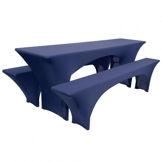 Biertischhusse Stretch 3tlg. Hussen Set Victoria 70x220cm blau Blau | 70 x 220