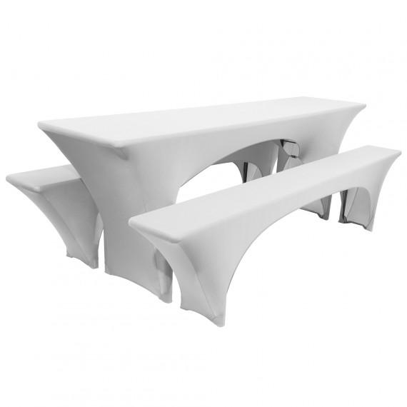 Biertischhusse Stretch 3tlg. Hussen Set Victoria 70x220cm weiß Weiß | 70 x 220