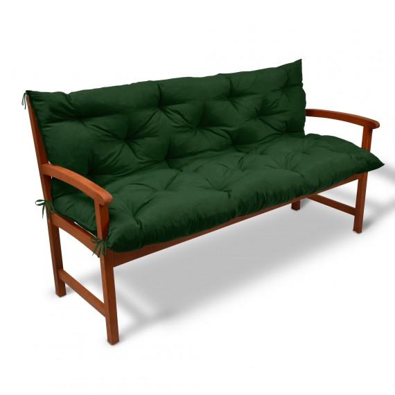 Beautissu Bankauflage Flair BR ca. 150x50cm in dunkelgrün Dunkelgrün | 150x50x50cm