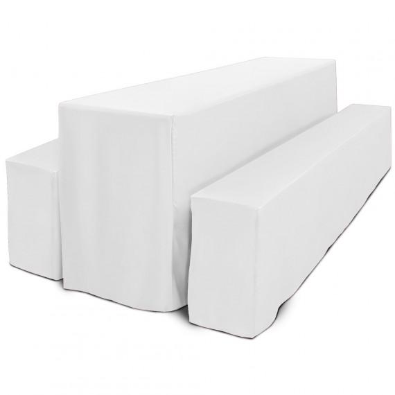 Beautissu Biertischhusse Basic L 50x220cm 3tlg Set lang weiß Weiß   50 x 220