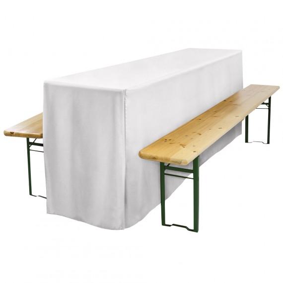 Biertischhusse Comfort L 50x220cm mit Schlitz lang weiß Weiß | 50 x 220