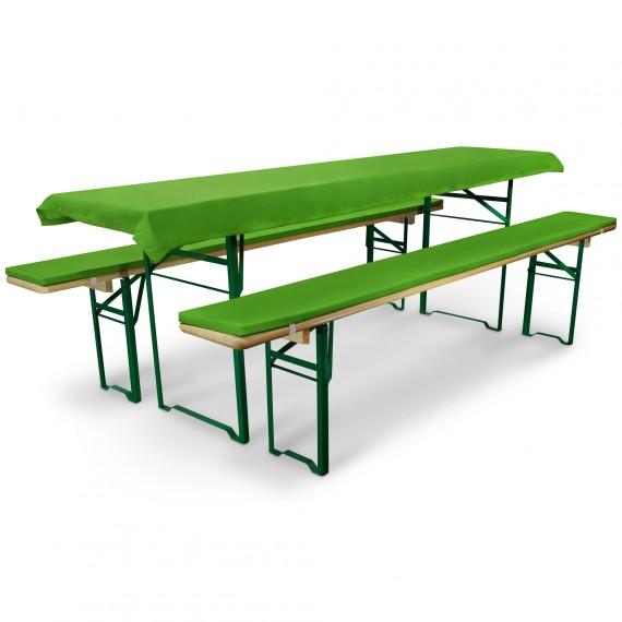 Bierbankauflage Comfort XS gepolstert Tischdecke 50x220cm apfelgrün Hell-Grün   für 50cm Tische