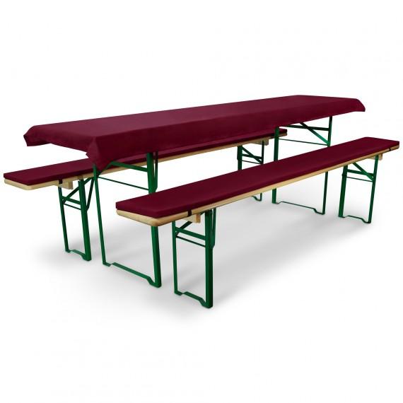 Bierbankauflage Comfort XS gepolstert Tischdecke 70x220cm rot dunkel Dunkel-Rot | für 70cm Tische