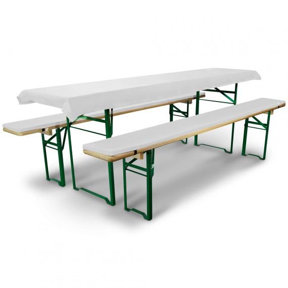 Bierbankauflage Comfort XS gepolstert Tischdecke 70x220cm weiß Weiß | für 70cm Tische