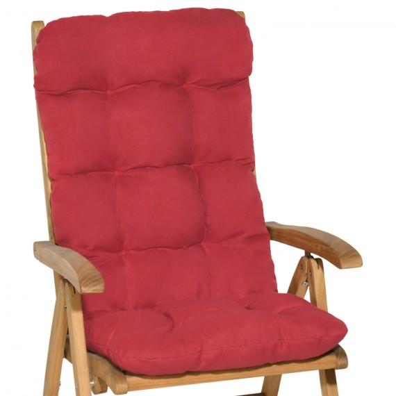 Beautissu Flair HL Hochlehner Auflage 120x50x8 cm rot Rot