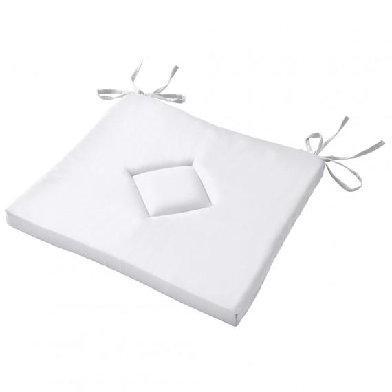 Beautissu Sitzkissen Stuhlkissen Kim ÖkoTex 40x40x3cm Weiß Weiß | 1er