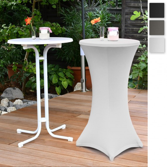 Beautissu Set Sylt Stehtisch weiß inkl. Stehtischhusse Stella Ø70 oder 80cm diverse Farben