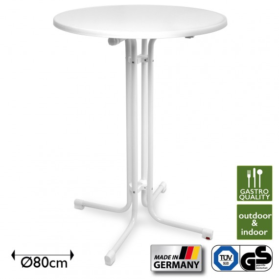 Beautissu Sylt Gastro Stehtisch klappbar - Made in Germany Ø80cm weiß