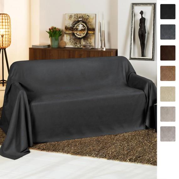 Beautissu Tagesdecke Sofaüberwurf Romantica Wildlederoptik 210x280cm