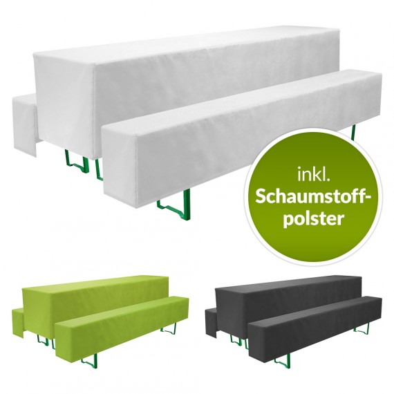 Beautissu Biertischhusse Comfort M 5tlg. Set inkl. Polster