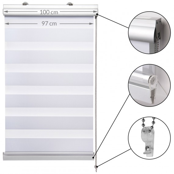 SolDecor DK9 Kassetten-Doppelrollo Klemmfix ohne Bohren weiß 100x220cm 100 x 220 cm