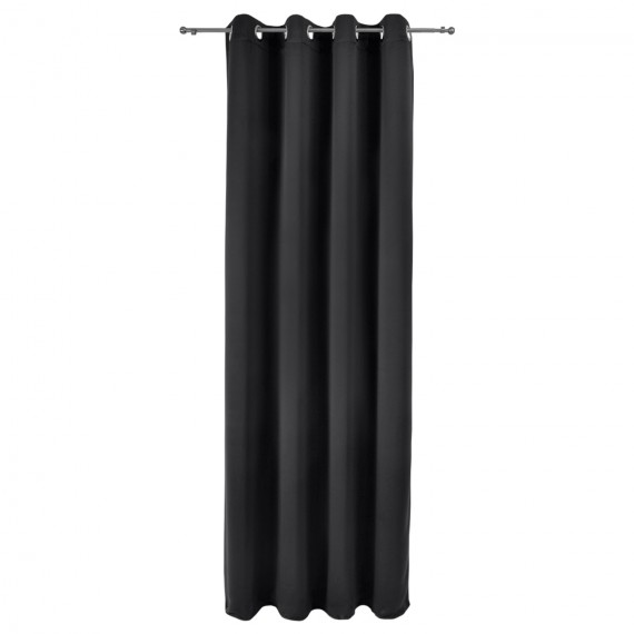Beautissu Ösenschal Verdunkelung Amelie - 140x245cm - schwarz Schwarz