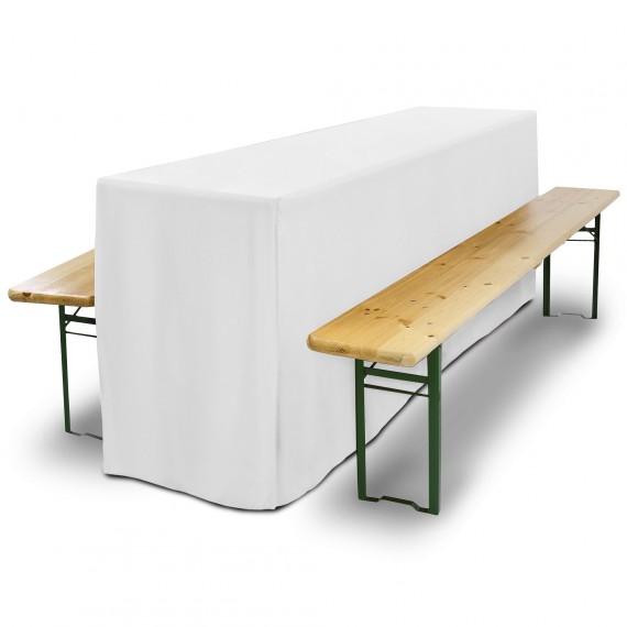 Biertischhusse Comfort L 70x220cm mit Schlitz lang weiß Weiß | 70 x 220