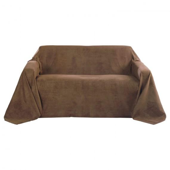 Tagesdecke Sofaüberwurf Romantica Wildlederoptik 210x280cm hellbraun Hell-Braun