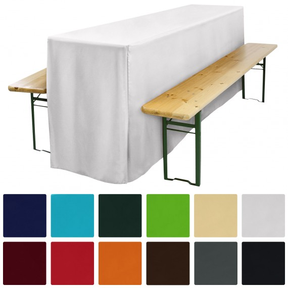 biertischhusse f r festzeltgarnitur 50x220cm lang mit schlitz weiss. Black Bedroom Furniture Sets. Home Design Ideas