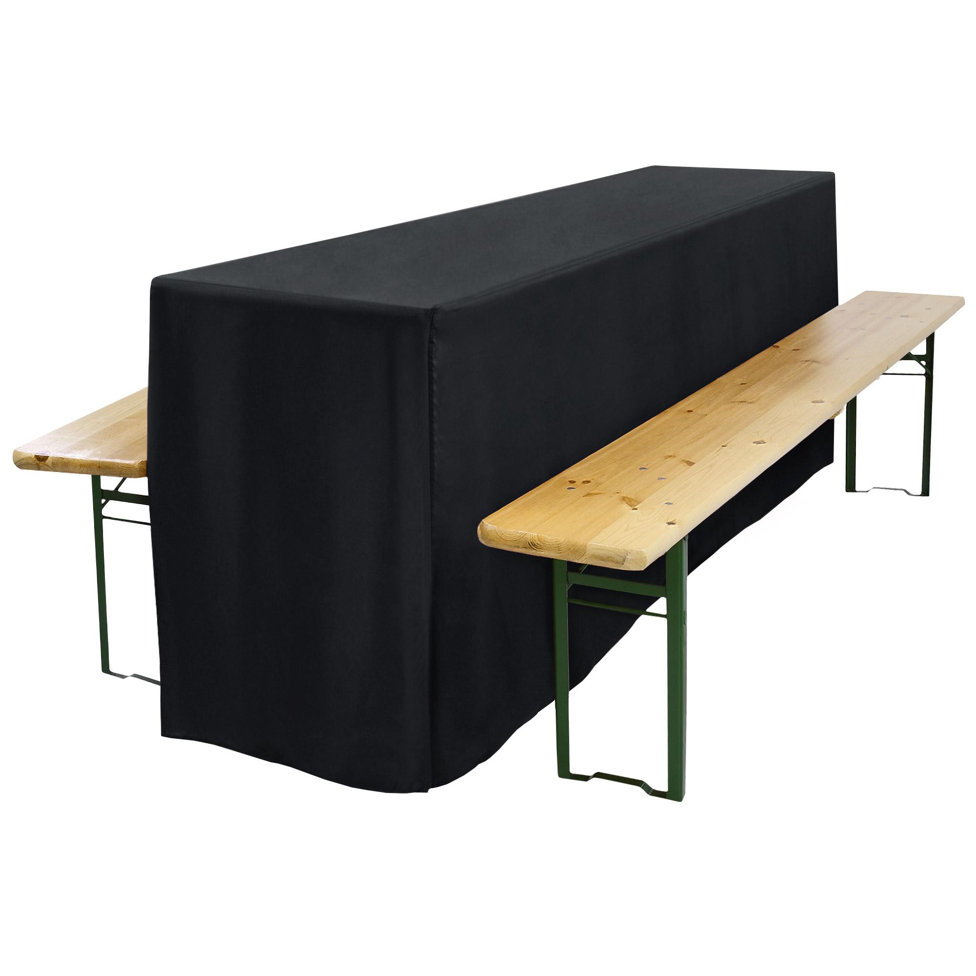 biertischhusse f r festzeltgarnitur 70x220cm lang mit schlitz schwarz. Black Bedroom Furniture Sets. Home Design Ideas