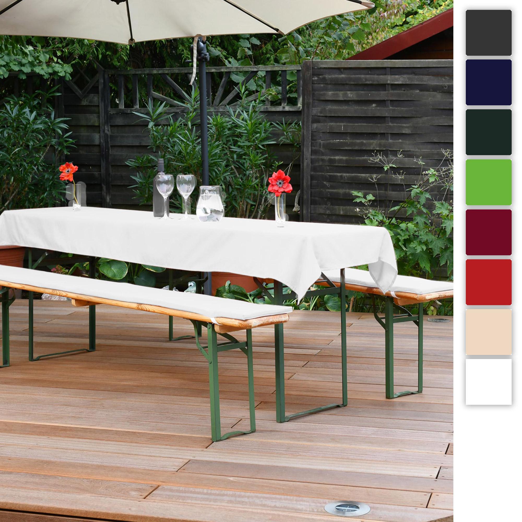 3er Set Beautissu Comfort XS Tischdecke und 2 Bierbankauflagen 50x220cm | 70x220cm