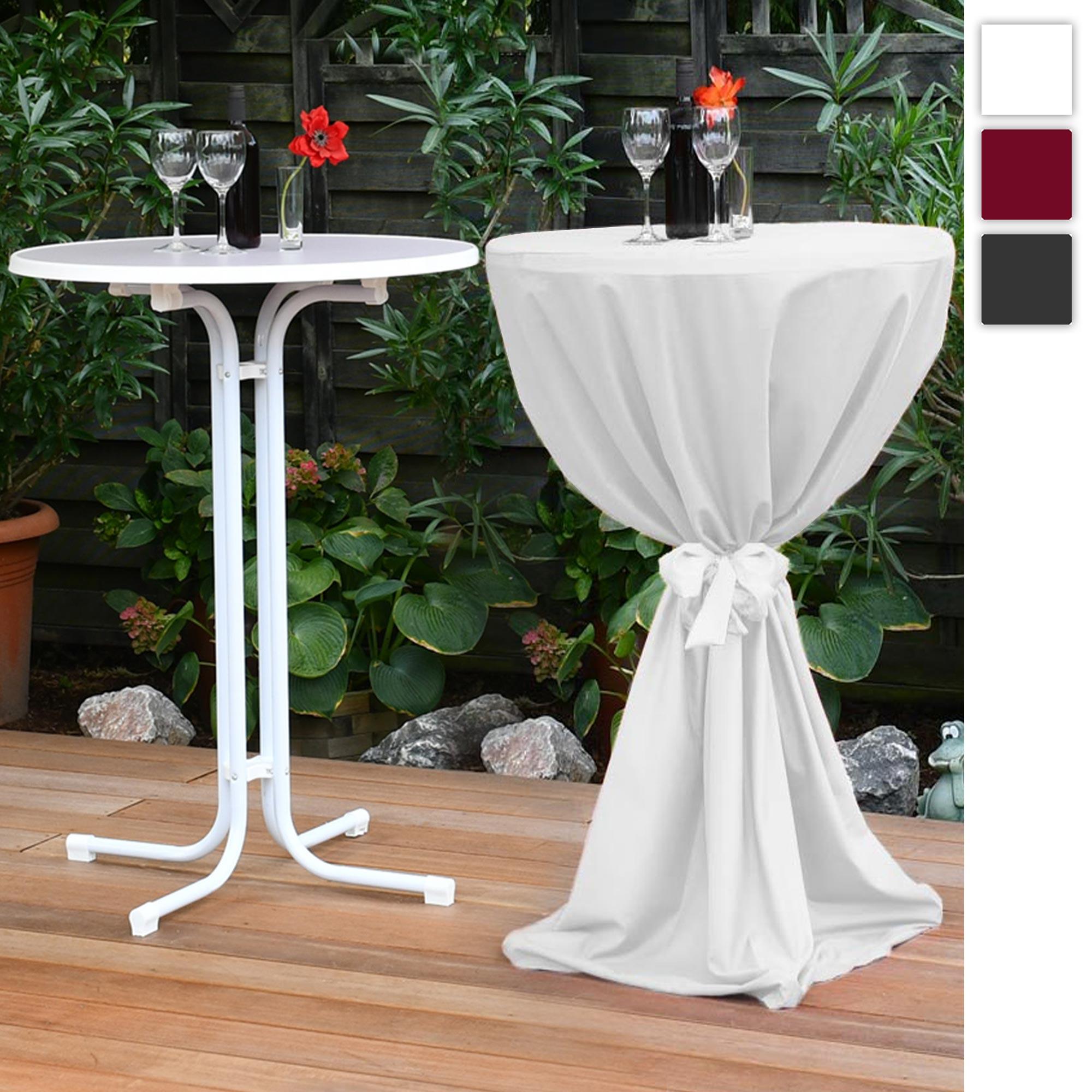 Beautissu Set Sylt Stehtisch weiß inkl. Stehtischhusse Giulia Ø70 oder 80cm