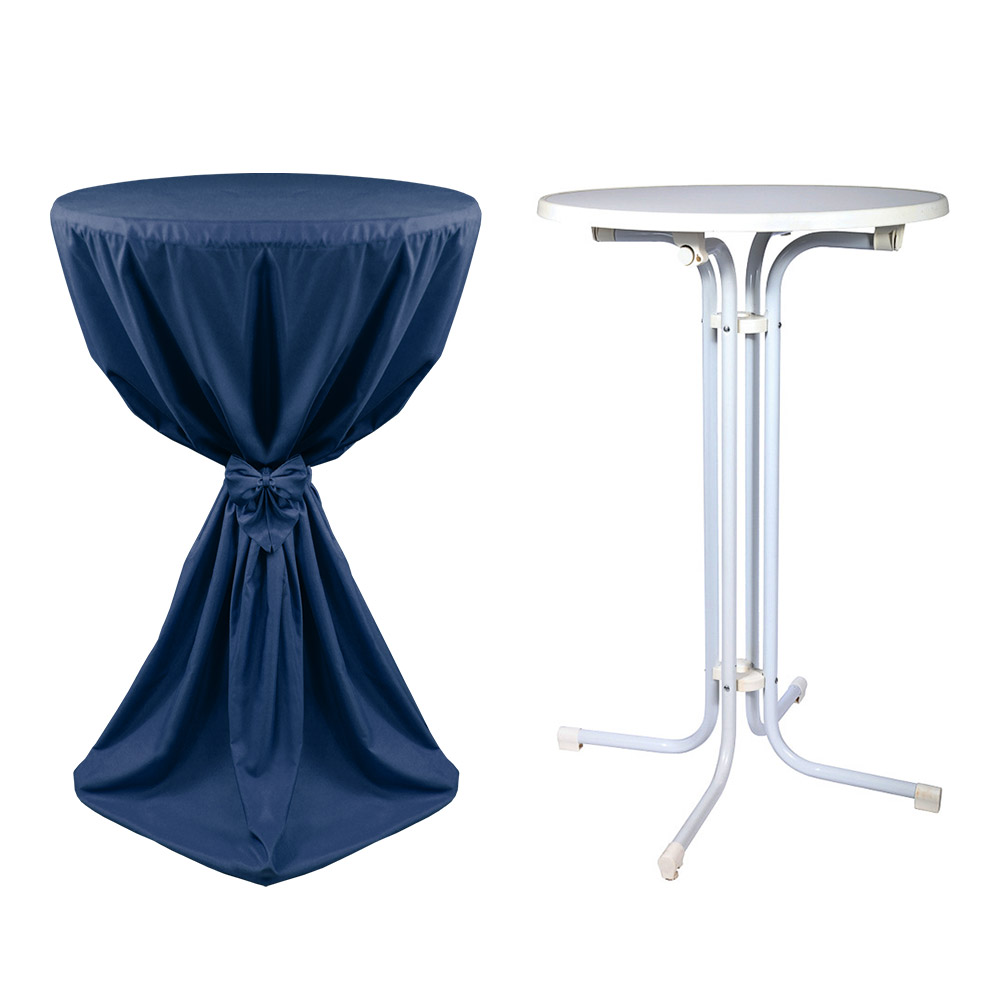 stehtisch inkl husse giulia 60cm dunkelblau mit band hier im shop. Black Bedroom Furniture Sets. Home Design Ideas